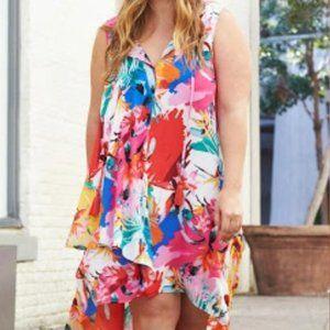 Cupio Curvy Asymmetrical Colorful Floral Dress
